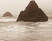 Coastal Storm - Pacific Ocean waves, Oregon, sea stacks, framed photograph