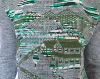 Vintage 1970's Men's NOVELTY Space Dyed Sweater Scenic Mountains House Trees Hippie Hipster M