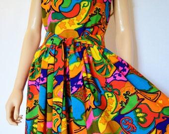 Vintage 1960's Sydney of Honolulu PsYcHeDeLiC NeOn Rainbow HiPPiE Hawaiian MOD PaLaZzo Pants Jumpsuit Size S M