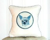 "shabby chic, feed sack, french country, delft  chihuahua graphic with french ticking  welting 14"" x 14"" pillow sham."