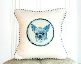 """shabby chic, feed sack, french country, delft  chihuahua graphic with french ticking  welting 14"""" x 14"""" pillow sham."""