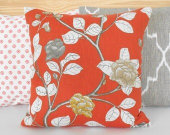 Persimmon orange, yellow and gray peony floral decorative pillow cover, Dwell Studio pillow