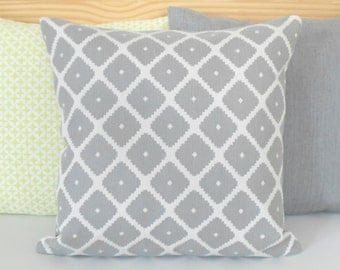 Gray and ivory geometric ikat decorative pillow cover