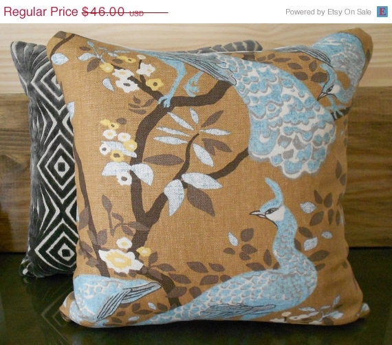 Items similar to Decorative pillow cover, DwellStudio, Vintage plumes camel, floral peacock on Etsy
