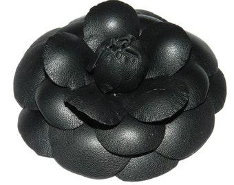 Flower brooch Camellia made of natural leather - black!