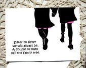 Sister Card Greeting Birthday gift thinking of you Pink Black silhouette