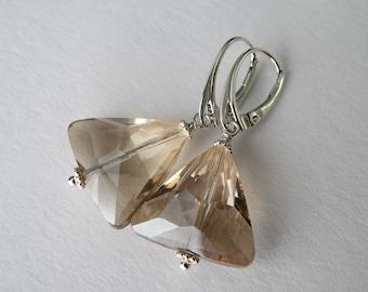 Modern Smoky Crystal Dangle Earrings,  Triangle Drop Sterling Silver Earrings, Wedding Jewelry