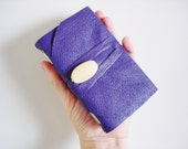 Lavender Mini-Handmade-Leather-Pocket Journal-Anytime-Gift Idea-Wooden Bead