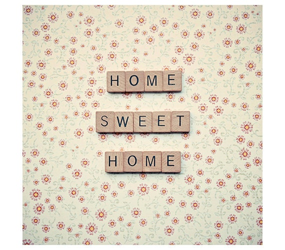 Letter tiles quote - home sweet home - quote art - home decor wall art - floral background - girly decor - square photograph