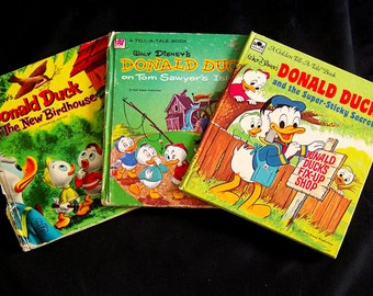 Vintage Donald Duck Book Bundle - 3 Whitman Tell A Tale Books - 1950s-1970s