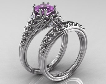 Classic French 14K White Gold 1.0 Ct Princess Lilac Amethyst Diamond Lace Engagement Ring Wedding Band Set R175PS-14KWGDLAM