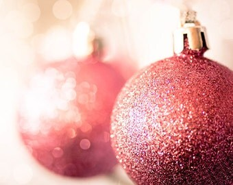 christmas photography festive christmas decor 8x10 fine art photography bokeh photography sparkle bauble gold red pink christmas wall art