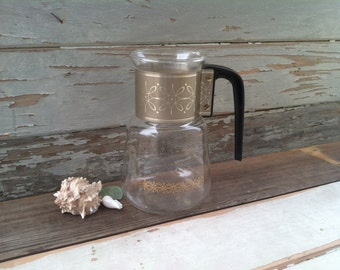 Retro Glass Pyrex Coffee Carafe - Mid Century Serving Pitcher In Gold + Black, Holiday Party Serving Ware, Let's Have a Cup of Tea, Tea Time