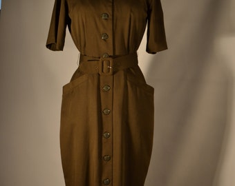 70's Form-fitting Brown Sheath