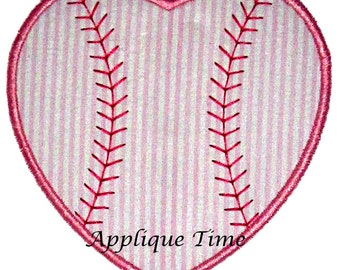 Instant Download Baseball Heart Machine Embroidery Applique Design 4x4, 5x7 and 6x10