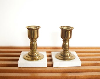 Brass and Marble Candle Holders, Pair, Candlesticks, Hollywood Regency