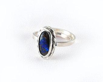 Sterling Genuine Australian Boulder Opal Ring, OOAK, October birthstone, adjustable size ring
