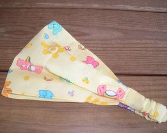 Fabric Headband Girls Headband Kids Accessories Girl Headwrap Head Scarf Summer Headband in Yellow with Care Bears print