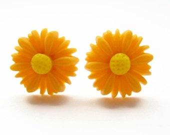 Bright Yellow Daisy Earrings, Yellow Flower Stud Earrings, Boho Jewelry, Hypoallergenic