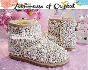 New Year Sales  Sales 20% off - Winter Promotion Bling and Sparkly Elegant White SheepSkin Wool Boots w Pearls and Crystals