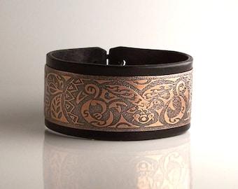 Mens leather bracelet, copper, metal bracelet  - tribal (vegetable tanned leather)