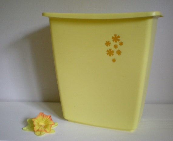Items similar to plastic yellow trash can with flowers in for Gold bathroom wastebasket