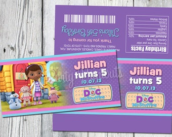 Doc McStuffins Large Candy Bar Wrappers: Printable Dr. Mc Stuffins Birthday Party Candy Wrappers, Party Printables and invitation Available