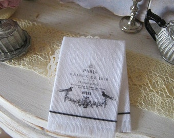 Paris Opera Fringed Tea Towel for Dollhouse.