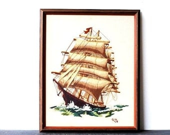 Vintage Embroidery Clipper Ship Framed Art, Large Dimensional Crewel Tapestry Needlepoint, Rustic Nautical Decor