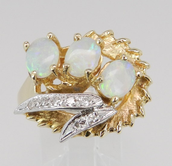 Opal and Diamond Ring Estate Vintage Ring 14K Yellow Gold 3-Stone Size 6.75