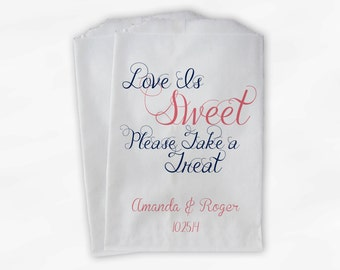 Love Is Sweet Please Take a Treat Personalized Wedding Candy Buffet Treat Bags - Favor Bags in Navy and Pink - Custom Paper Bags (0101)