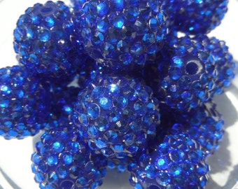 20mm, 8CT, Dark Blue Resin Rhinestone Ball Chunky Beads, G18