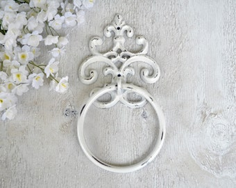 Cast iron, Hand Towel Ring, White, Fleur de lis, Bathroom Fixture,