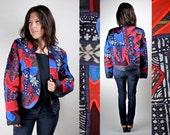 Vintage 80s Judith Roberts Applique Bolero IKAT Jacket