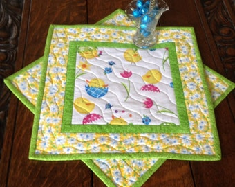 Quilted Snack Mat Set, Quilted Mug Rugs, Set of Two Quilted Snack Mats, Little Peeps Snack Mat Set