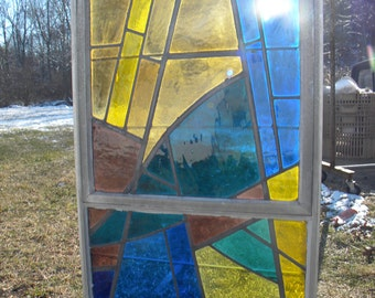 cool big 1960s vintage retro eames era abstract mid century colorful STAINED GLASS WINDOW   pick up only b