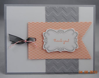 Handcrafted Peach & Gray Thank You Card