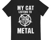 My Cat Listens to Metal T-shirt on Black UNISEX sizes S M L XL