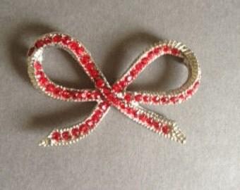 Red Rhinestone Bow Sew on Decoration