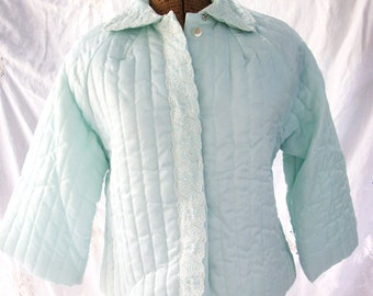 Barbizon Bed Jacket ~ Aqua Green with Embroidered Accents ~ Vintage Quilted Puff  ~ Button Front