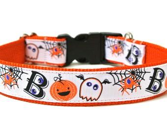 """Halloween Dog Collar 1"""" Boo Dog Collar"""