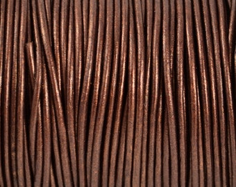 2mm Metallic Tamba Dark Brown Round Leather Cord - 15 Feet