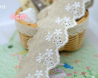 10 Meter 1.7-7.5cm wide burlap cotton fabric embroidery lace trim L16K512 free ship