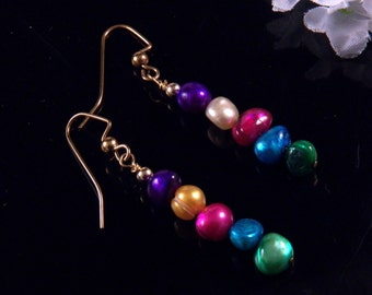 Fresh Water Pearl Earrings - Dangling Earrings - Multi Color Earrings - Handmade Costume Jewelry - Made in Montana Free Shipping Made in USA