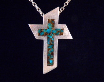 Vintage Cross Necklace Sterling Silver Necklace Turquoise Cross Pendant Southwestern Christian Necklace Handmade Native American Free Ship