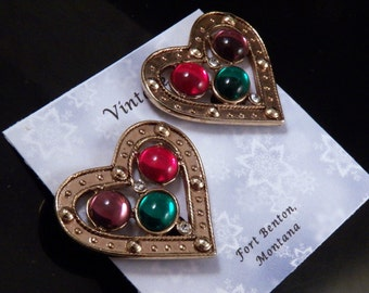 Vintage Clip-On Earrings - Heart Earrings - Red Purple Green Earrings - Crystal Rhinestone Earrings - Costume Jewelry - Free Shipping USA