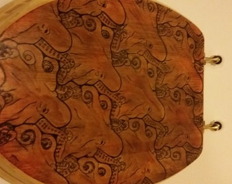 Toilet Seat Octopus Illustrated Stained MC Escher Adelaide Octopi Design Art Toilet Seats Home Bathroom Décor