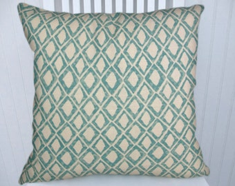 Aqua Geometric Pillow Cover--18x18 or 20x20 or 22x22 Diamond Pattern Decorative Pillow Accent Pillow Cover