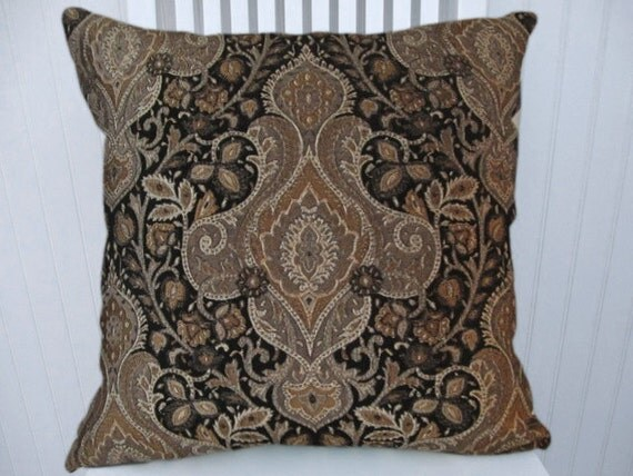 Gold Black Decorative Pillow- 18x18 or 20x20 or 22x22-Black, Brown, Silver, Gold Accent Pillow
