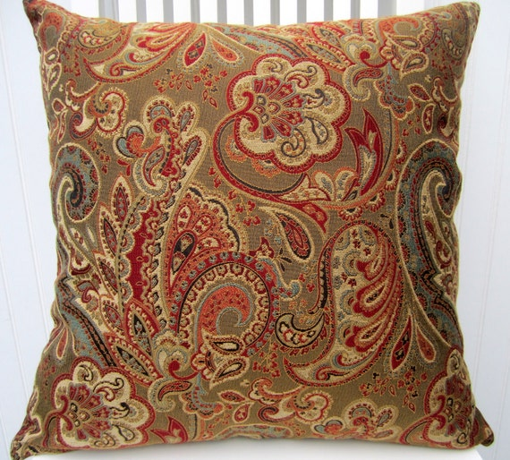 items similar to brown red paisley pillow covers